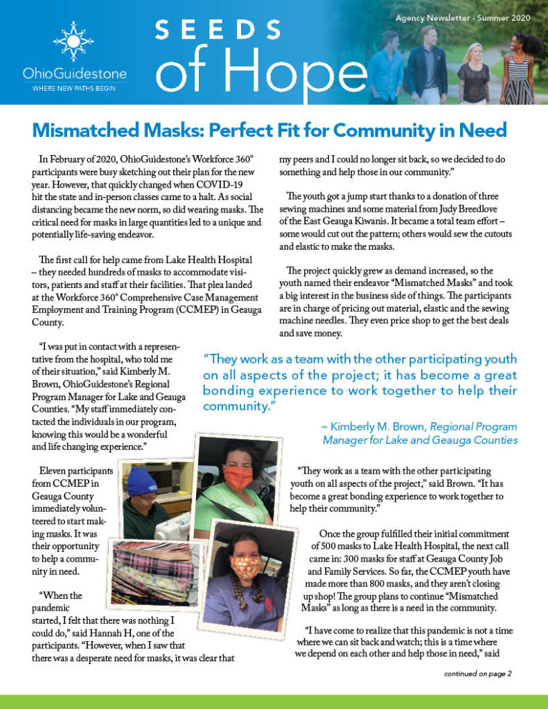 Cover of Seeds of Hope Newsletter with cover story students wearing masks